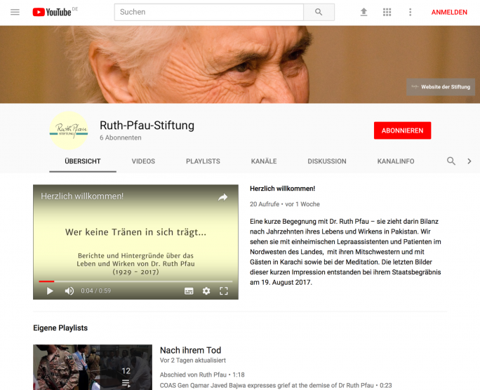 YouTube-Channel der Ruth-Pfau-Stiftung